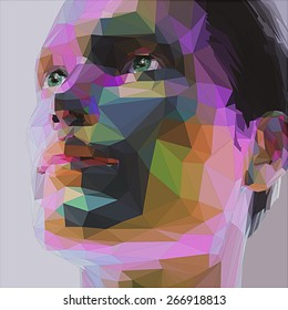 Low poly abstract portrait man