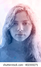 Low poly abstract portrait of young woman. Gradient Rose Quartz - Serenity. Abstract polygonal illustration.