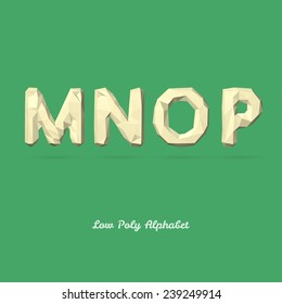 Low Poly Alphabet Letter M N O P - Vector Illustration - Polygon Structure