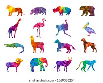 Low poly animals. Silhouettes from geometric triangular form colorful animals zoo origami vector pictures