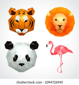Low poly animals: tiger lion panda flamingo icons vector set