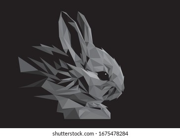 Low poly art vector of a greyscale rabbit in high details. Animal triangle geometric illustration. Abstract polygonal art. With black color background. Ideal for illustration, posters or t-shirts.