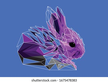 Low poly art vector of a purple rabbit with half wireframe. Animal triangle geometric illustration. Abstract polygonal art. With blue color background. Ideal for illustration, posters or t-shirts.