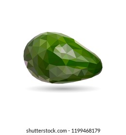 Low poly avocado. Polygonal illustration. Vector isolated on white background. Geometric polygonal fruit, triangles. Triangle avocado. Triangulation of a ripe avocado.