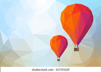low poly with balloons fly to sky