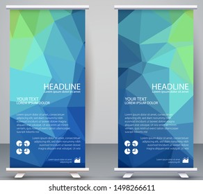 Low poly Banner Vertical, polygonal  Modern Background natural gradient Wallpaper Business, Roll Up Standee Office, Company, Modern card template for web, landing page, cover, ad, publication,