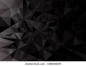 Low poly black dark-grey abstract background, polygonal shapes background triangles mosaic, for web and print, dark crystals backdrop with red yellow  and purple neon lights.