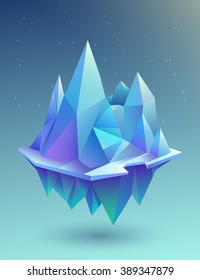 Low poly blue mountains on the island of vector illustration