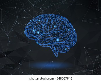Low poly blue wireframe brain glowing with dot and line on dark space background