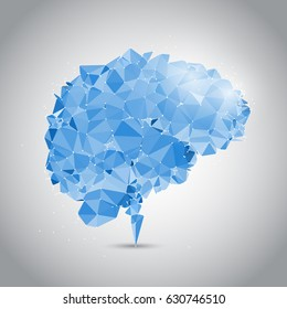 Low poly brain design with connecting dots