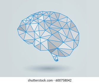 Low poly brain illustration with blue wireframe on bright background