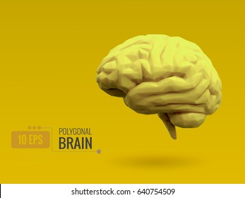 Low poly bright lemon yellow brain on yellow background