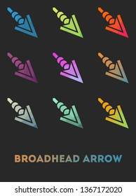 Low poly broadhead arrow fantasy sihlouette with multicolour gradient background.