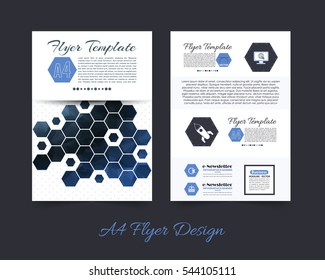 Low Poly Brochure, A4 Flyer Document and Vector Background. Corporate Leaflet, Textbook Cover Design. Print Ready Business Pamphlet or Polygonal Booklet Template