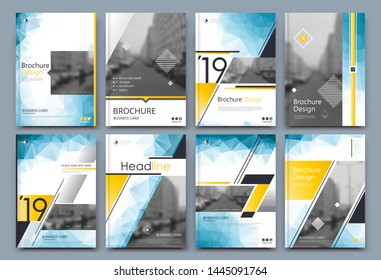 Low poly Brochure cover design. Annual report binder. Info banner frame. Fancy ad flyer text font. Title sheet fiber model. Hi tech vector front page. Urban city view texture. Yellow blue triangle.