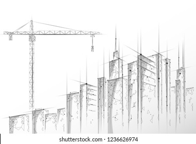 Low poly building under construction crane. Industrial modern business technology. Abstract polygonal geometric 3D cityscape urban silhouette. High tower skyscraper white gray vector illustration