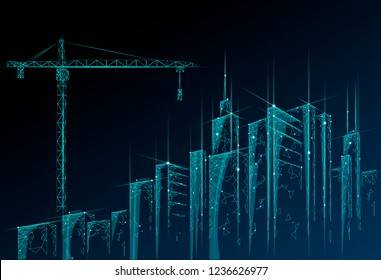 Low poly building under construction crane. Industrial modern business technology. Abstract polygonal geometric 3D cityscape urban silhouette. High tower skyscraper night blue sky vector illustration