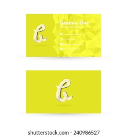 Low Poly Business Card Template with Initials Letter B - Vector Illustration - Self Promo Element