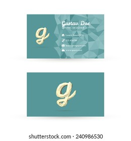 Low Poly Business Card Template with Initials Letter G - Vector Illustration - Self Promo Element