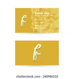 Low Poly Business Card Template with Initials Letter F - Vector Illustration - Self Promo Element