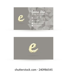 Low Poly Business Card Template with Initials Letter E - Vector Illustration - Self Promo Element