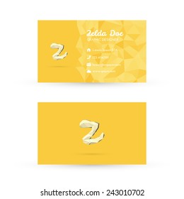 Low Poly Business Card Template with Initials Letter Z - Vector Illustration - Self Promo Element
