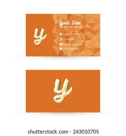 Low Poly Business Card Template with Initials Letter Y - Vector Illustration - Self Promo Element