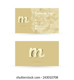 Low Poly Business Card Template with Initials Letter M - Vector Illustration - Self Promo Element