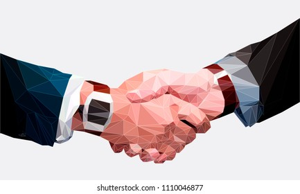 Low poly businessman handshake, Business partnership, together, volunteering and helping concept.
