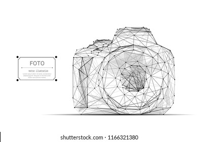Low Poly Camera. Abstract mash line and point origami on white background with an inscription. Vector polygonal illustration. Technology art
