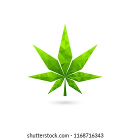 low poly cannabis logo, green leaf geometric vector design
