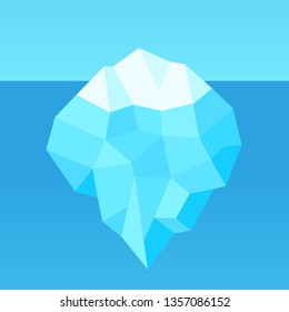 Low poly cartoon iceberg with hidden underwater part. Simple geometric design for infographic template. Vector illustration.