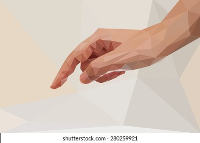 Low poly concept .Hand for press