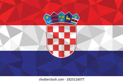 Low poly Croatia flag vector illustration. Triangular Croatian flag graphic. Croatia country flag is a symbol of independence.