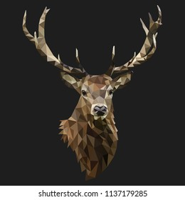 Low poly deer vector with antlers