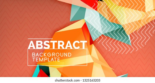 Low poly design 3d triangular shape background, mosaic abstract design template, vector illustration