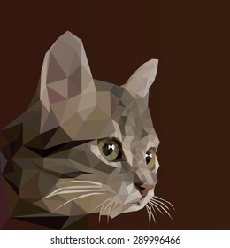 Low poly design. Abstract vector Illustration, low poly style. Stylized design element. Logo design with kitten. Polygonal brown cat illustration.