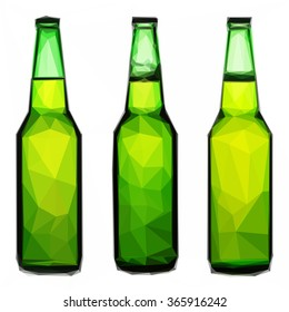Low poly design of beer bottle isolated on white background