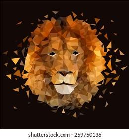 Low poly design. Lion illustration.