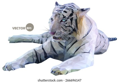Low poly design, white tiger on a white background