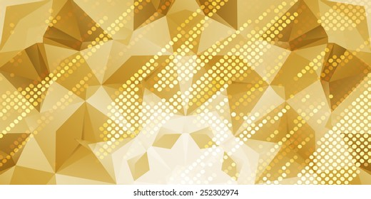 low poly double exposure gold bright abstract background square pixel mosaic vector
