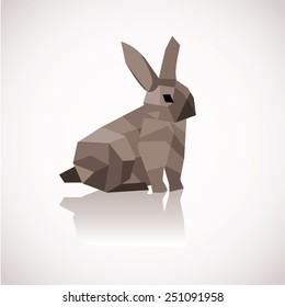 Low poly Easter Bunny EPS 10 vector royalty free stock illustration for greeting card, ad, promotion, poster, flier, blog, article