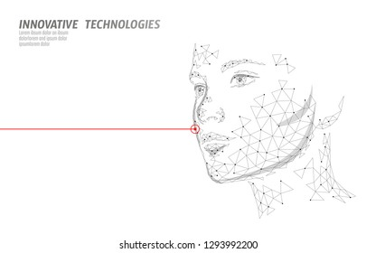 Low poly female human face laser skin treatment. Rejuvenation procedure beauty salon care. Clinic medicine cosmetology innovation technology. 3D polygonal rendering vector illustration