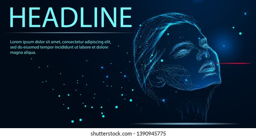 Low poly female human face laser skin treatment. Rejuvenation procedure beauty salon care. Clinic medicine cosmetology innovation technology. 3D polygonal rendering vector illustration. Headline