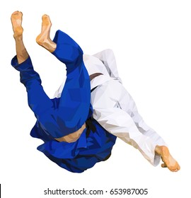 low poly fighter judo throw for ippon in judo vector illustration