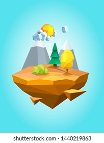 Low poly floating island on blue background. 3d polygonal landscape with colorful trees, mountains and bushes. Sun with clouds, pine and oak, drifting desert island, rock stone vector illustration