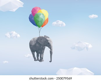 Low Poly Flying Elephant. Low Poly Image of Elephant attached to balloons flying through cloudy sky.