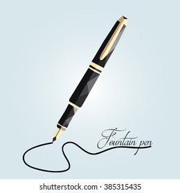 low poly fountain pen. vector illustration