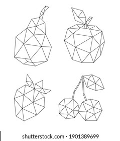 Low poly fruit set isolated on white. Decorative geometric triangle apple, cherry, pear and strawberry. Icon collection for tattoo design. Vector stock illustration.