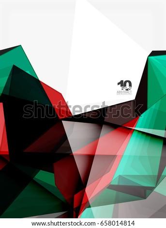 Low Poly Geometric 3 D Shape Futuristic Stock Vector
